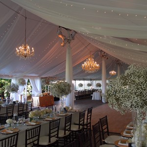 DesignLight Blithewold Mansion tent lighting and chandeliers and fabric