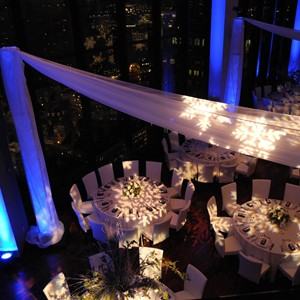 DesignLight State Room winter wedding fabric uplighting and lighting gobos