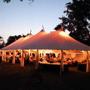 DesignLight Elm Bank tent in Maple Grove fabric surround and chandeliers