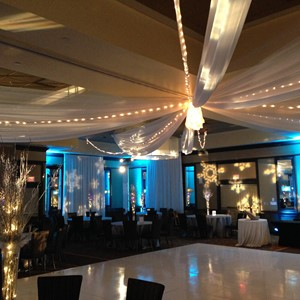 DesignLight winter wedding fabric uplighting and lighting gobos