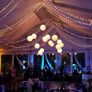 DesignLight NEAQ wedding lighting event overhead fabric and bistros paper lanterns