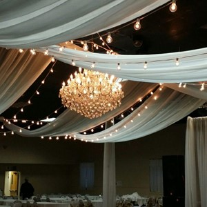DesignLight overhead fabric and chandelier with bistro lights