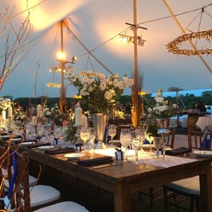 DesignLight rustic tent wedding with twig chandeliers