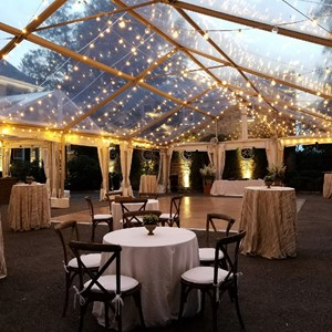 DesignLight clear tent with overhead bistro string lights