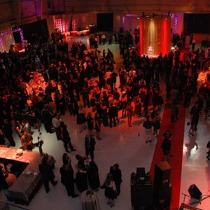 holiday event, airplane hanger