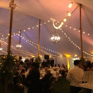DesignLight tent lighting with chandelier and bistros