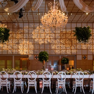 DesignLight JFK Library wedding with fabric gobos and chandelier