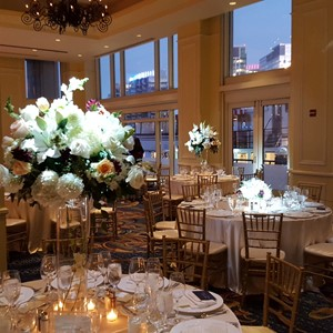 DesignLight Boston Harbor Hotel lighting and pin spots on centerpieces