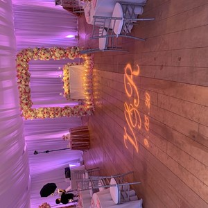 DesignLight backyard wedding lighting in tent